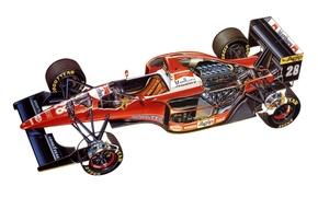Обои f1, ferrari f93a, 1993, мотор, фон