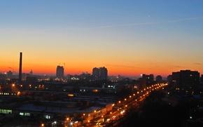 Картинка Солнце, Небо, Город, Рассвет, Минск