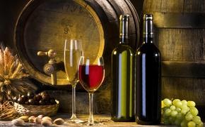 Обои вино, красное, белое, бокалы, виноград, бутылки, колосья, бочонки