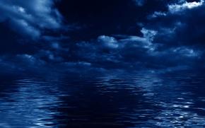 Картинка море, небо, облака, пейзаж, ночь