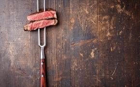 Картинка wood, fork, meat, roasted
