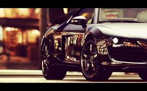 Обои дорога, машина, авто, city, город, lights, Audi, ауди, улица, фары, колеса, черная, wheels, Audi R8, ...