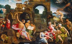 Картинка картина, миф, Саул и Ведьма Эндора, Якоб Корнелис ван Остсанен