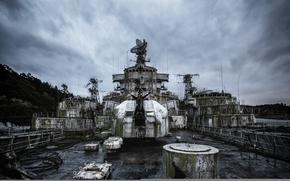 Картинка оружие, фон, корабль