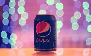Картинка лето, макро, свет, огоньки, реклама, напитки, гирлянды, лампочки, боке, бренды, Pepsi