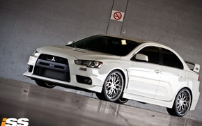 Обои белый, Lancer X 10, не курить, Mitsubishi, парковка