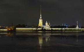 Картинка ночь, крепость, Нева, Санк-Петербург, Петропавловка, Петропавловская