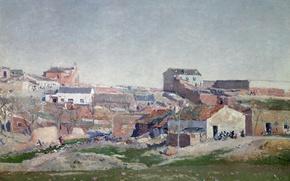 Картинка город, холмы, дома, картина, городской пейзаж, Aureliano de Beruete y Moret, Вид Городского Квартала