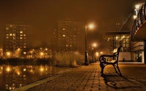 Картинка city, lights, night, bench, promenade