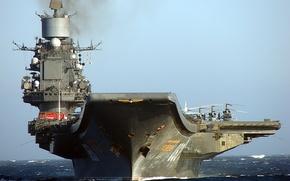 Обои небо, Авианосец, море., адмирал Кузнецов
