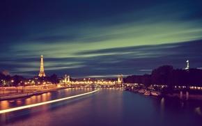 Обои город, река, париж, франция