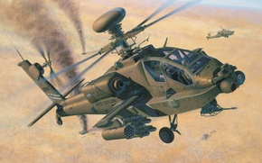 Картинка war, art, airplane, helicopter, painting, AH-64D Longbow Apache
