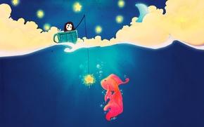 Картинка рисунок, рыбалка, рыбка, чашка, star, art, fish