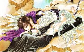 Картинка обломки, крылья, поцелуй, цепь, парни, двое, длинные волосы, art, zadei, teteiyus, you higuri, seimaden