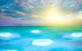 Картинка море, небо, облака, озеро, горизонт