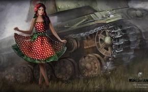 Картинка девушка, платье, танк, girl, танки, WoT, Мир танков, tank, World of Tanks, tanks, Wargaming.Net, BigWorld, …