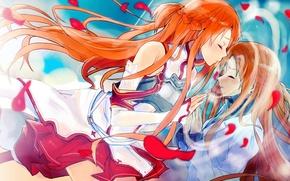 Картинка поцелуй, лепестки, Мастера меча онлайн, Sword Art Online, Asuna Yuuki, зазеркалье