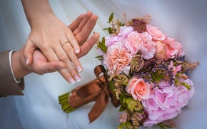Картинка любовь, цветы, розы, букет, руки, свадьба