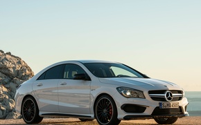 Обои mercedes-benz, cla, 45, amg, car, wallpapers, white