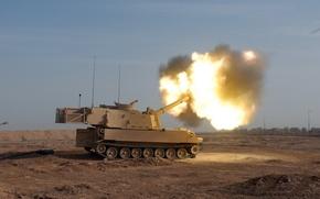 """Картинка Пустыня, Выстрел, Гаубица, """"Paladin"""", M109A6"""