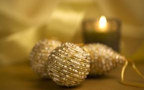 Обои свеча, новогодние украшения, шары