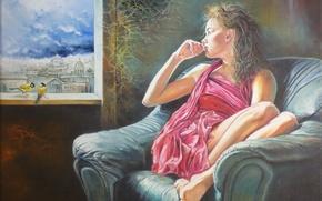 Картинка девушка, птицы, город, настроение, кресло, окно, синицы, Wlodzimierz Kuklinski