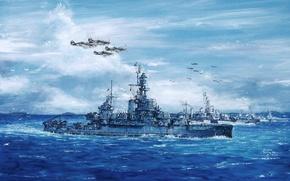 Картинка море, волны, небо, рисунок, корабли, арт, самолёты, WW2, Uss Pennsylvania, «Пенсильвания», американский линейный корабль, (BB-38)