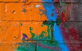 Картинка red, wall, blue, pattern, orange, brick, different colors, gren
