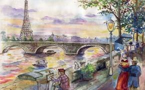 Картинка мост, рисунок, Париж, арт, художник, живопись