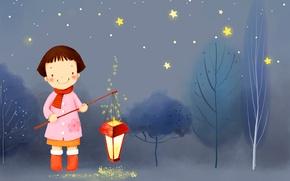 Картинка зима, деревья, ночь, улыбка, звёзды, девочка, фонарь, сапожки, шарфик, пальто, детские обои