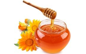 Обои цветы, деревянная, оранжевые, мед, баночка, ложка