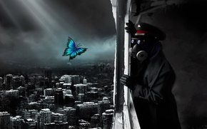 Обои Romantically Apocalyptic, апокалипсис, разрушение, конец, город, капитан, бабочка, противогаз