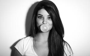 Картинка Девушка, Волосы, Пузырь, Брюнетка, Жевательная резинка, Жвачка