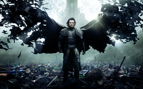 Обои Action, Dracula, Wings, Vampire, Cloak, Drama, Sword, Horror, Red, War, 2014, Luke Evans, Wallpaper, Fantasy, ...