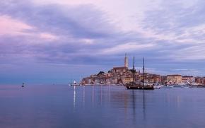 Картинка здания, яхты, лодки, Хорватия, Istria, Croatia, Адриатическое море, Ровинь, Rovinj, Adriatic Sea, Истрия