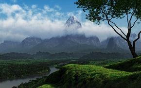 Картинка зелень, облака, деревья, природа, река, холмы, гора
