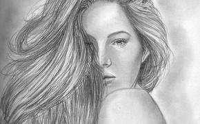 Картинка глаза, взгляд, девушка, лицо, волосы, спина, карандаш, живопись, плечо