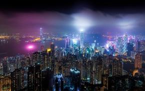 Картинка свет, ночь, город, огни, Китай, Гонг Конг