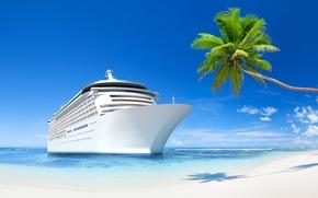 Картинка море, пляж, тропики, отдых, корабль, beach, sea, holiday, ship, tropics