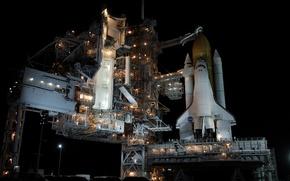 Картинка небо, космос, ночь, огни, Atlantis, запуск, шаттл, NASA, Space, shuttle, orbiter, Атлантис