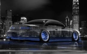 Картинка Ночь, Синий, Город, Неон, Ниссан, Обои, Голубой, City, Silvia, Nissan, Blue, Photoshop, Фотошоп, Neon, S14, …