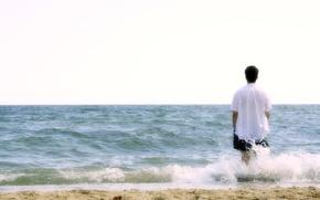 Картинка пляж, человек, Море, гармония, размышления