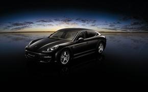 Обои облака, черный, Porsche