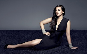 Обои legs, face, girl, eyes, brunette, девушка, Sonakshi Sinha, actress, smile, pretty, hair, sexy, актриса, celebrity, ...