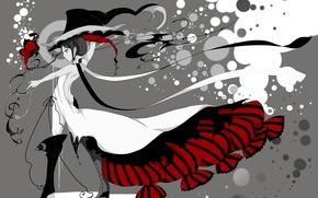 Картинка шляпа, стиль, чернила, аниме, art, девушка, Bati15, платье
