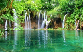 Обои водопад, вода, лес