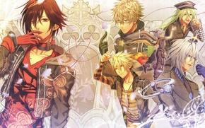 Картинка лепестки, кольцо, рога, парни, овощи, Amnesia, Shin, Orion, Амнезия, Kent, Toma, Ikki