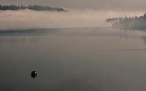 Картинка fog, boat, morning mist