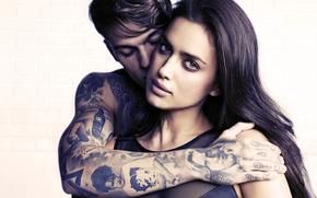 Картинка взгляд, девушка, лицо, модель, рука, Ирина Шейк, шатенка, парень, татуировки, Sheik, Irina Shayk, Irina Shaykhlislamova, …