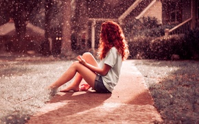 Картинка girl, red, Rainfall, hair